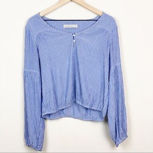 A&F Blue & White Pin Striped Bell Sleeve Blouse S